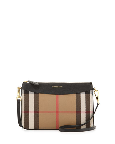 House Check Crossbody Bag, Black
