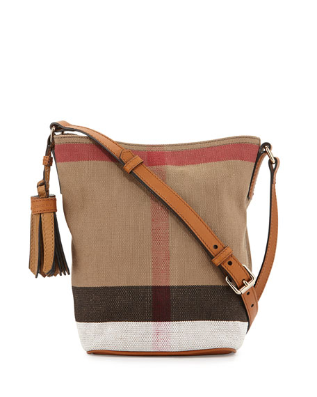 Asby Canvas Check Crossbody Bag, Saddle Brown