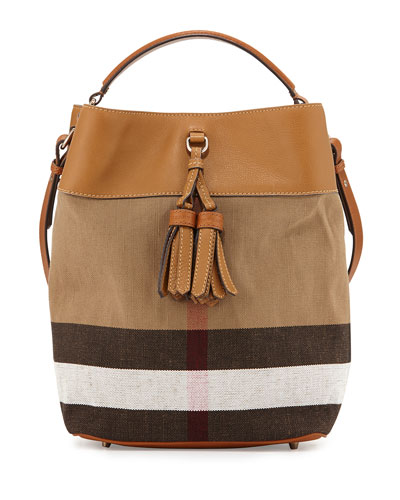 Check Canvas Bucket Bag, Saddle Brown