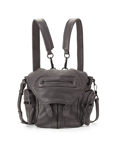Marti Mini Zip-Trimmed Leather Backpack, Typhoon