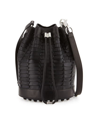 Alpha Woven Napa Leather Bucket Bag, Black