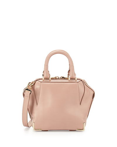 Prisma Structured Leather Satchel Bag, Blush