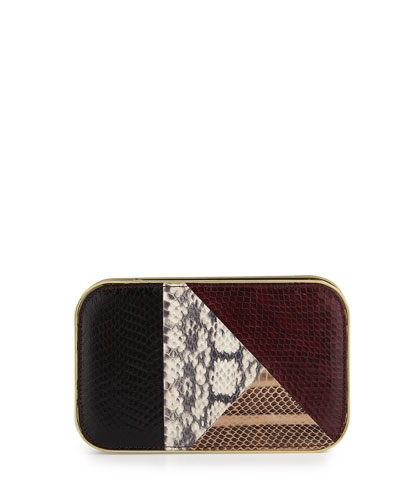 Daniela Small Snakeskin Framed Clutch Bag, Marsala Combo