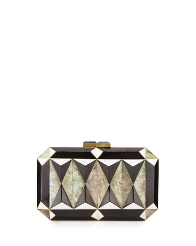 Sara Faceted Shell Minaudiere, Black/White