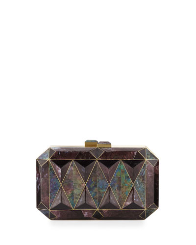 Sara Faceted Shell Minaudiere, Black/Violet