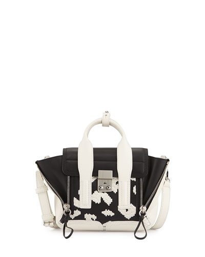 Pashli Mini Leather Satchel Bag, Black/White