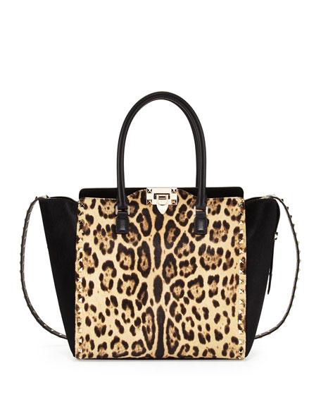 Rockstud Calf Hair Shopper Bag, Leopard Print