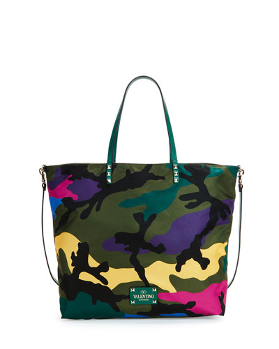 Nylon Camo-Print Easy Tote Bag
