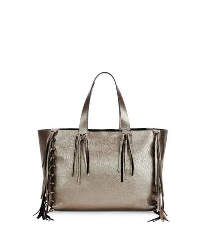 C-Rockee Fringed Metallic Tote Bag, Silver