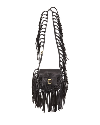 C-Rockee Pebbled Leather Fringe Shoulder Bag