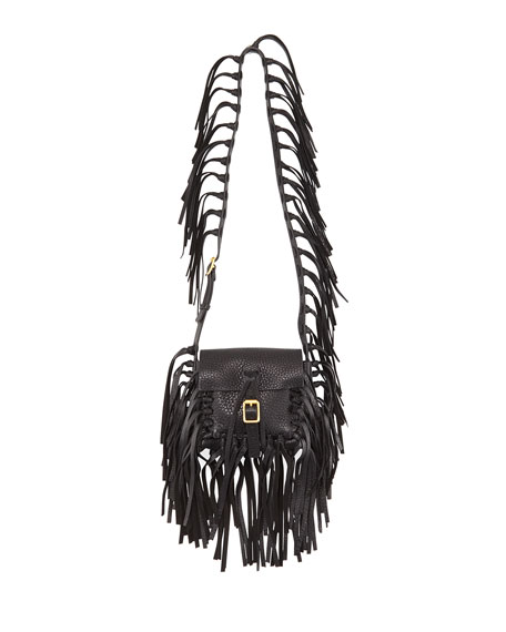 Valentino C-Rockee Pebbled Leather Fringe Shoulder Bag
