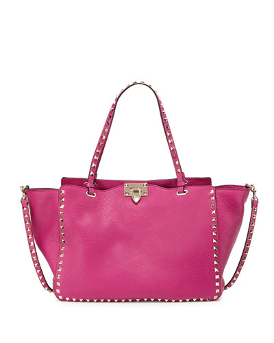 Rockstud Grained Leather Medium Tote Bag, Pink