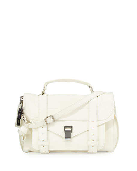 Proenza Schouler PS1 Medium Leather Satchel Bag, White