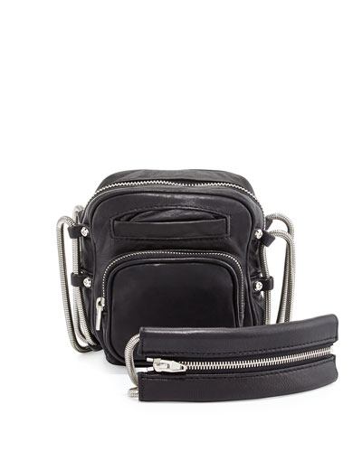 Brenda Lambskin Crossbody Bag, Black