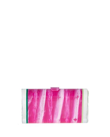Lara Backlit Ice Clutch Bag, Pink Marble