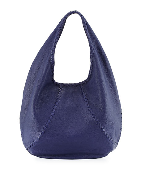 Bottega Veneta Cervo Large Open-Shoulder Hobo Bag, Royal
