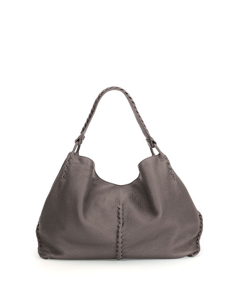 Bottega Veneta Cervo Large Shoulder Bag, Light Gray