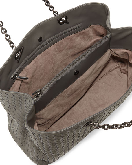 Intrecciato Double Chain Tote Bag, Gray