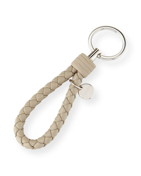 Bottega Veneta Braided Loop Key Ring, Light Gray