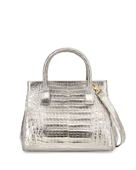 Crocodile Small Soft Lady Bag, Anthracite`
