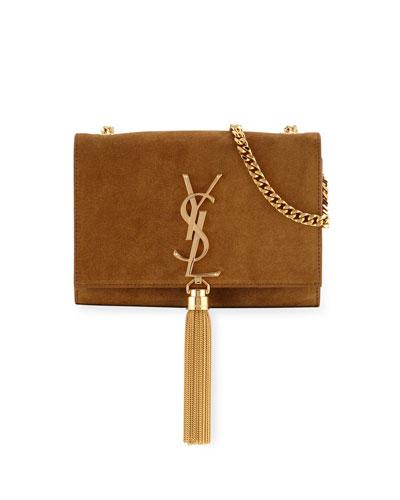 Monogram Small Suede Tassel Crossbody Bag, Camel