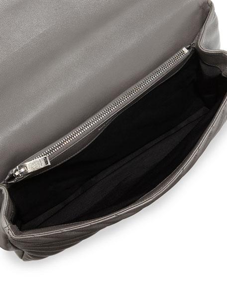 Monogram YSL College Large Chain Shoulder Bag, Dark Gray