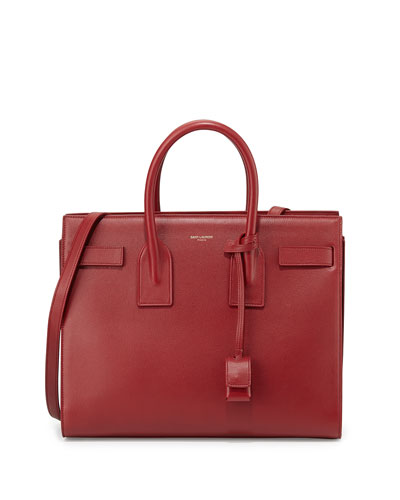 Sac de Jour Small Grain Leather Tote Bag, Bordeaux