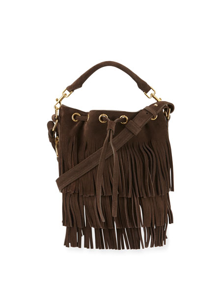 Saint Laurent Emmanuelle Small Suede Fringe Bucket Bag, Dark Brown