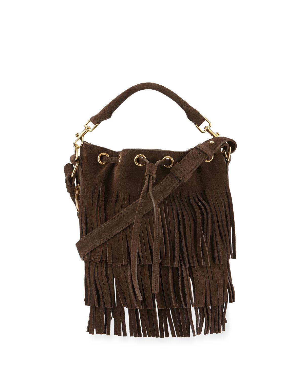 Saint Laurent Emmanuelle Small Suede Fringe Bucket Bag 9507a4631aa7d