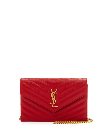 Saint Laurent Monogram Matelassé Small Wallet-on-Chain, Red