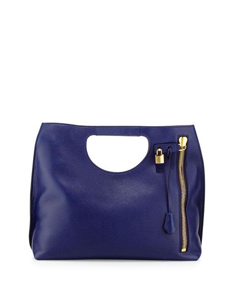 Alix Large Calfskin Shopper Tote Bag, Cobalt Blue