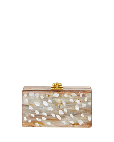 Jean Acrylic Clutch Bag, New Mica White