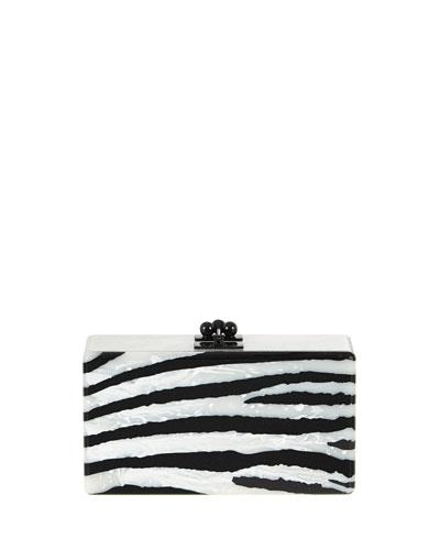 Jean Zebra Clutch Bag, Alabaster/Obsidian