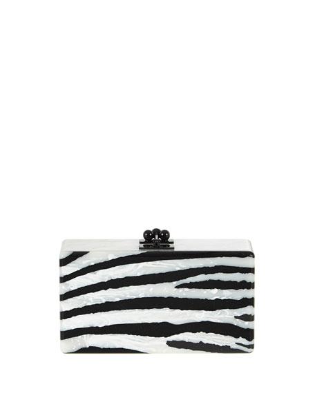 Edie Parker Jean Zebra Clutch Bag, Alabaster/Obsidian