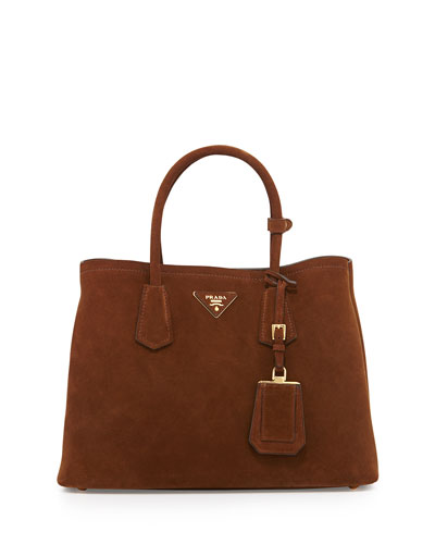 Suede Small Double Bag, Brown/Tan (Cacao/Nocciola)