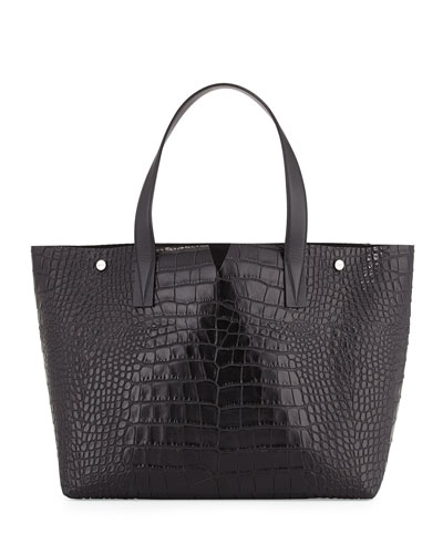 Signature V Embossed-Crocodile Tote Bag, Black