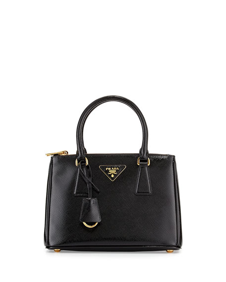 prada small zip wallet - Prada Saffiano Vernice Mini Double-Zip Tote Bag, Black (Nero)
