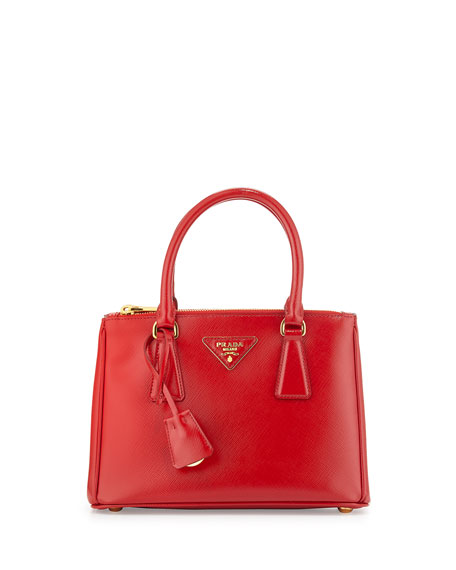 Prada Saffiano Vernice Mini Double-Zip Tote Bag, Red