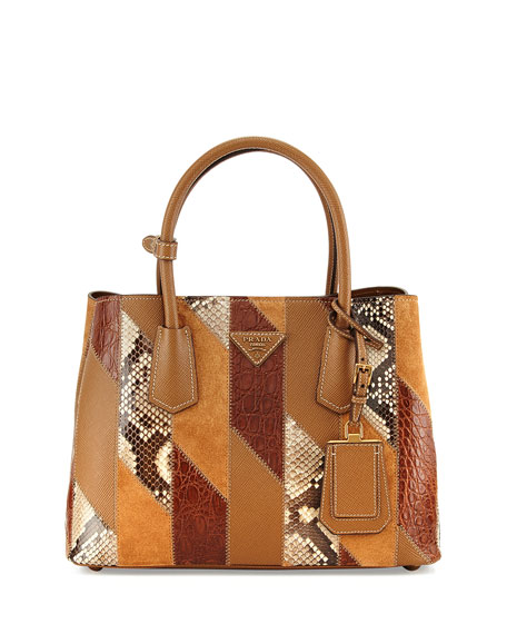 Prada Patchwork Tote Bag, Camel Multi (Cannela)