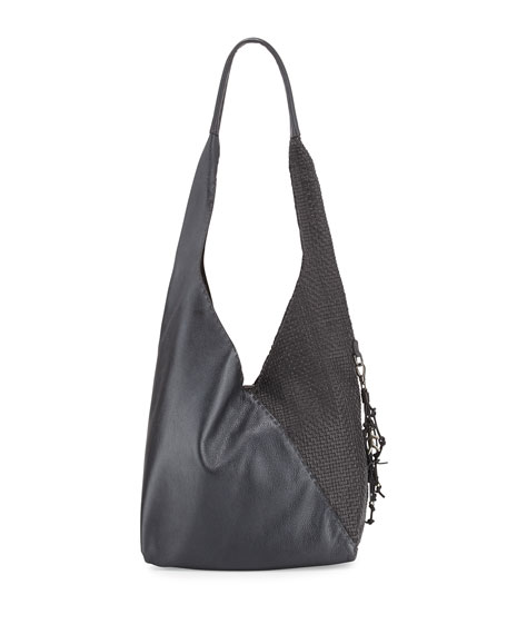 Henry Beguelin Canotta Smooth/Woven Hobo Bag, Black/Dark Gray