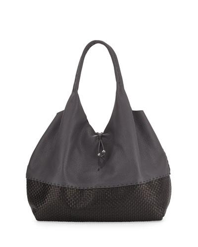 Large Woven Cervo Hobo Sling Bag, Dark Gray/Black