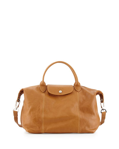 Le Pliage Cuir Tote Bag with Strap, Natural