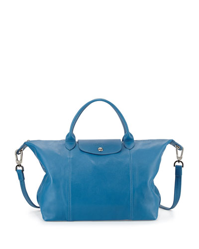 Le Pliage Cuir Tote Bag with Strap, Ice Blue
