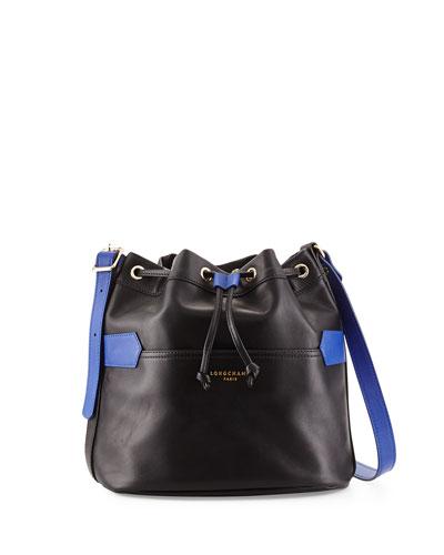 Bicolor Leather Bucket Bag, Black/Blue