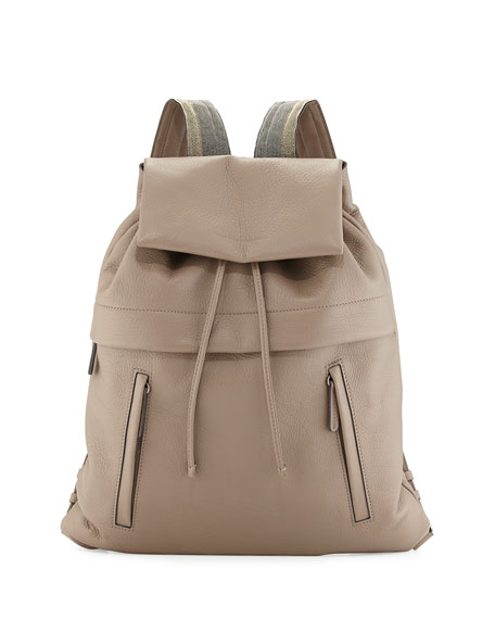 Brunello Cucinelli Calfskin Backpack w/Monili Straps, Light Grey
