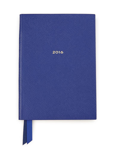 2016 Soho Leather-Bound Diary, Cobalt