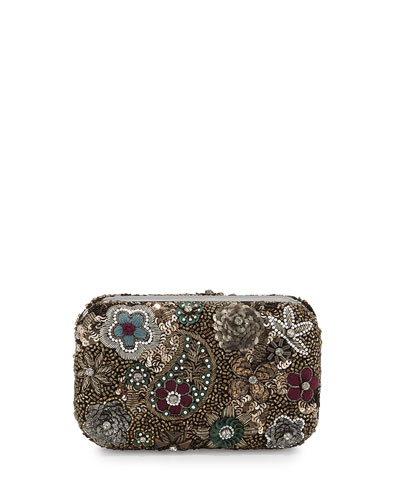 Metallic Paisley Hard-Shell Clutch Bag, Multicolor