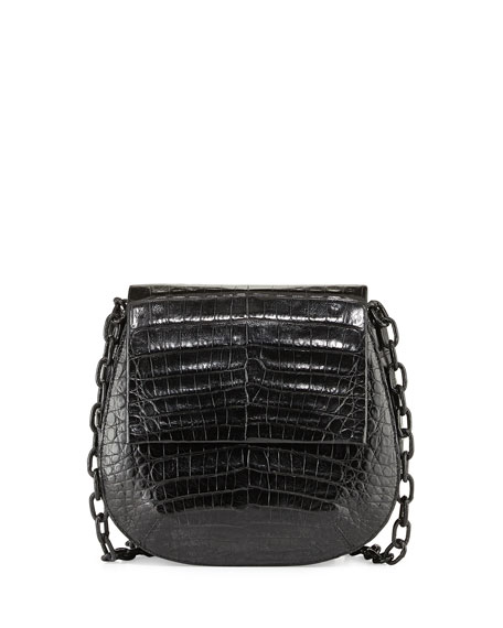 Nancy Gonzalez Round Flap-Top Crocodile Crossbody Bag, Black Matte
