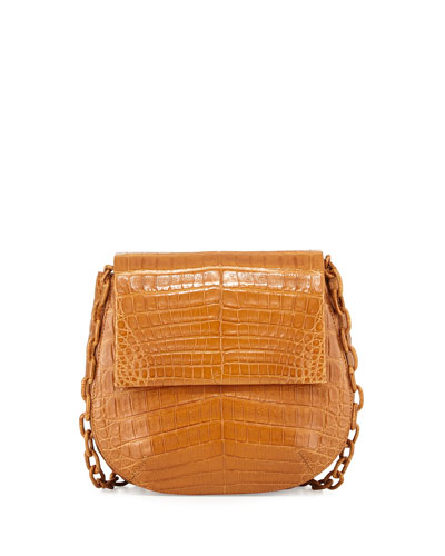 Round Flap-Top Crocodile Crossbody Bag, Saddle