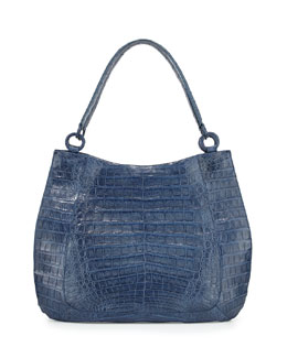Crocodile Medium Soft Hobo Bag, Denim Matte